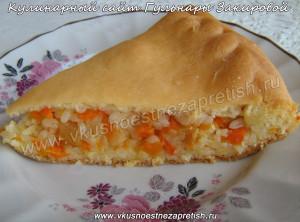 Пирог с рисом, морковью и курагой