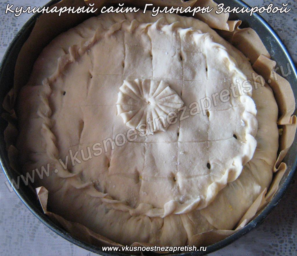 Пирог с горбушей из слоеного теста4