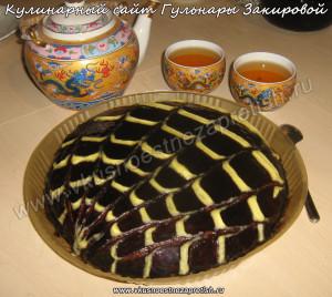 Торт полосатый с кокосовой стружкой