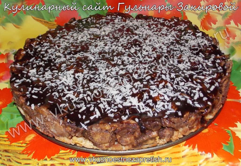 Торт без выпечки из кукурузных хлопьев