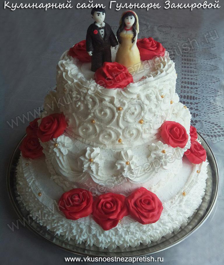 Торт на свадьбу с розами