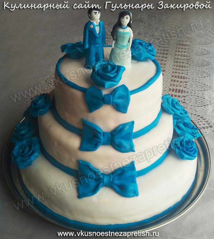 Торт на свадьбу с синими розами (4)